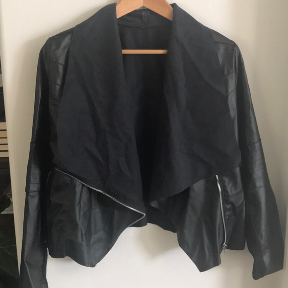 Jackets & Blazers - Drape front faux leather jacket